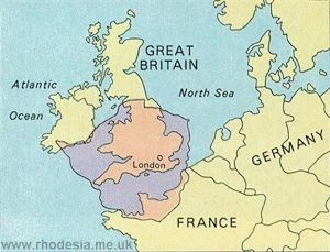 Map comparing size of England and Rhodesia