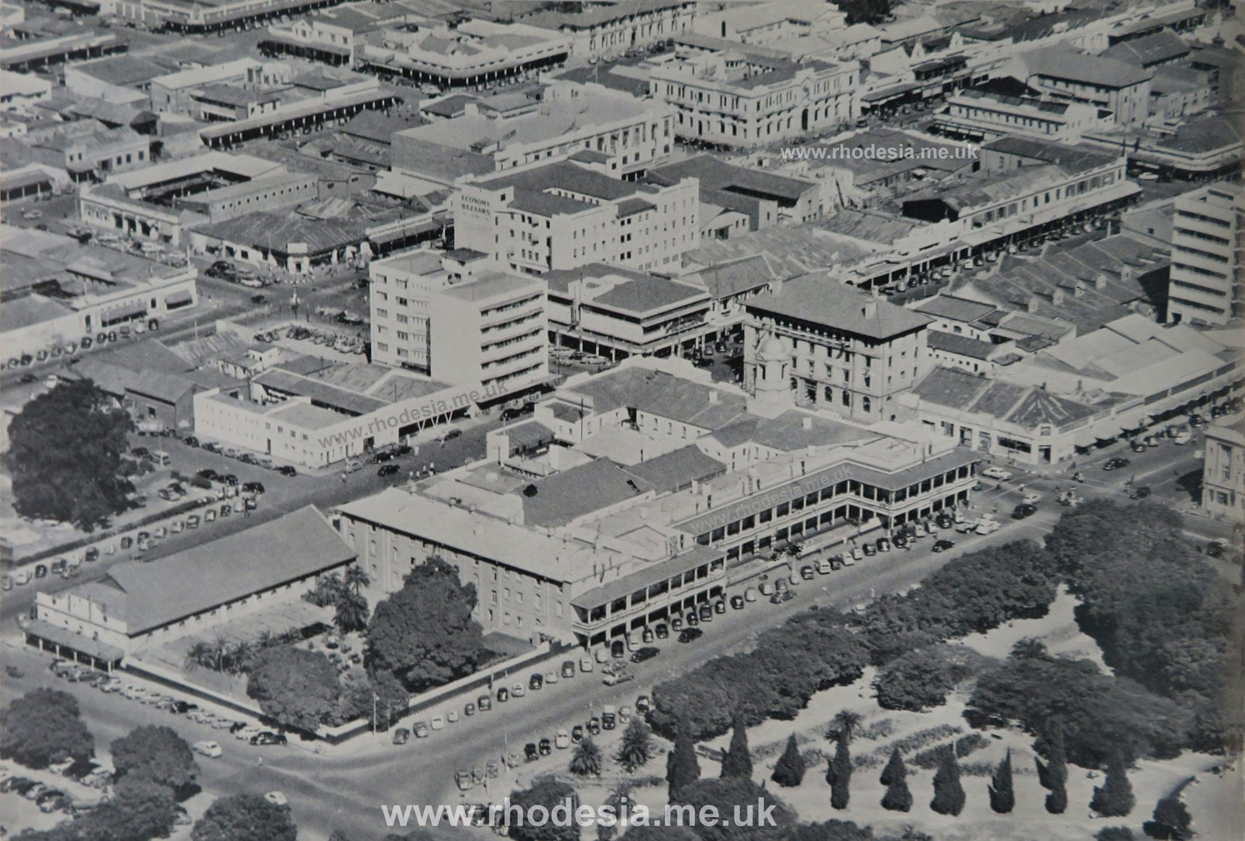 Meikles Hotel, Salisbury, Rhodesia view from the air early 1950s